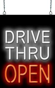 Drive Thru Open Neon Sign Jantec 2 Sizes Fast Food Restaurant Diner