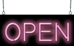 Classic Open Pink Neon Sign Jantec 20 Wide X 8 High Beauty Salon Hair