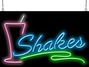 Shakes With Glass Neon Sign Jantec 2 Sizes Soda Fountain Ice Cream Real