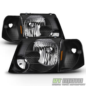 Blk 2002 2003 2004 2005 Ford Explorer Headlights Corner Signal Lights Left Right
