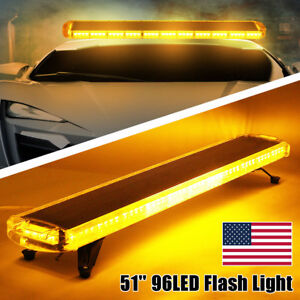 Us 96 Led 51 Amber Beacon Warn Tow Car Truck Response Police Strobe Light Bar