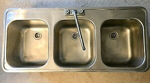 Stainless Steel 3 Compartment Industrial commercial Sink used mint plus Faucet