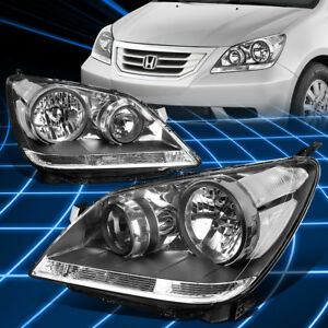 For 08 10 Honda Odyssey Pair Black Housing Clear Side Driving Headlight lamps