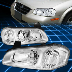 For 00 01 Nissan Maxima Pair Chrome Housing Clear Side Driving Headlight Lamps
