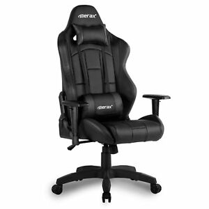 Office Gaming Chair High Back Recliner Racing Ergonomic Leather Swivel Black