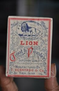 Vintage Lion Toothpowder Ad Litho Sealed Paper Box Japan