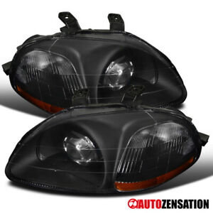 For 1996 1998 Honda Civic 2 3 4dr Black Projector Headlights Retrofit Style Pair