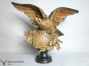 Black Forest Hand Carved Wooden Us Eagle Swiss Glass Eyes