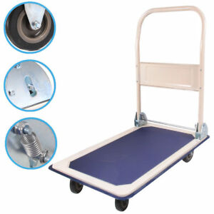 660lbs Platform Cart Folding Dolly Moving Push Hand Truck Warehouse Blue Durable