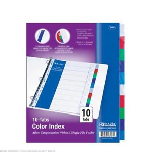 Bazic 3 Ring Binder Dividers With 10 Color Tabs 24pcs 3107 24