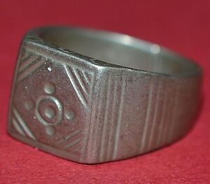 Antique African Tuareg Tribe Ethnic Silver Etched Ring Niger Africa Ring Size 9