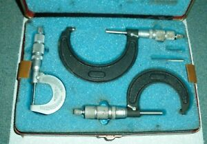 Vintage Central Tool Co 3 Piece Micrometer Set With Case