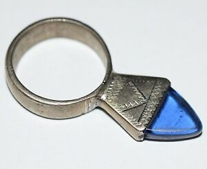 Antique Tuareg Tribe Etched Metal Ring Blue Czech Glass Niger Africa Ring Size 8