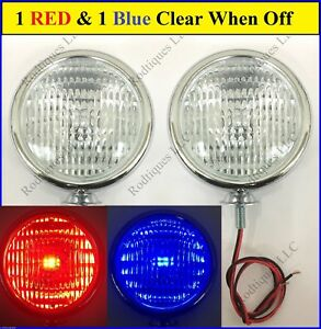 12 Volt Clear To Blue Red 5 Lights Fire Truck Police Car Ambulance Fog Driving