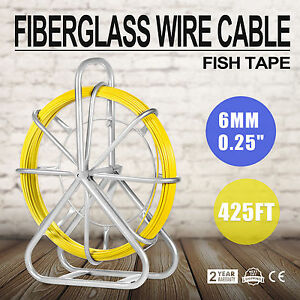 130m 426ft Fish Tape 6mm Fiberglass Wire Cable Running Rod Duct Rodder Puller