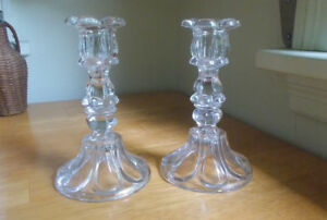 Pair Of 1850s Flint Glass Candlesticks Open Pontil Petal Loop Boston Sandwich
