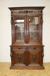 Antique French Oak Renaissance Carved Hunt Bookcase Cabinet W Figures