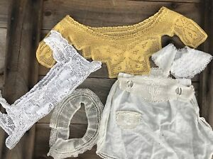 Antique Lace Collars Apron Crocheted Butterfly Yoke Lot Of 5