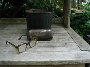 Vintage Ao American Optical Safety Glasses Motorcycle Goggles W metal Case