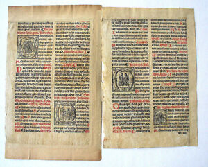 Bible Leaves Double Column Illuminated Initials C 1460 Two Pages Joined