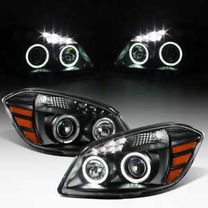 Black 2005 2010 Chevy Cobalt 07 10 Pontiac G5 Led Drl Halo Projector Headlights