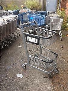 2 Tier Shopping Carts Mini Small Gray Black Basket Used Store Fixtures Buggy