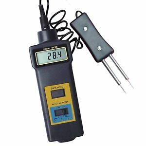 Digital 2 in 1 Moisture Temperature Meter Wood Cotton Paper Multi probe 0 50