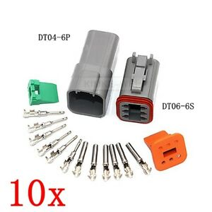 10x Deutsch Dt04 6p dt06 6s Sealed Waterproof Electrical Connector Plug Kits New