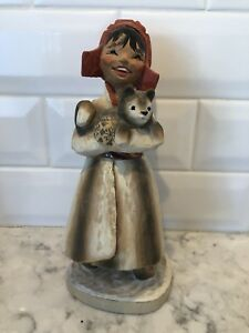 Vintage Hand Carved Henning Norway 9 Lap Girl Holding Husky Puppy