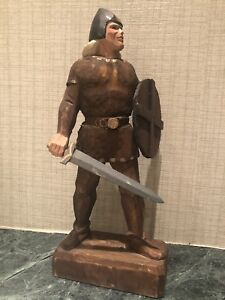 Vintage Henning Norway Hand Carved 10 Tall Viking Man W Shield