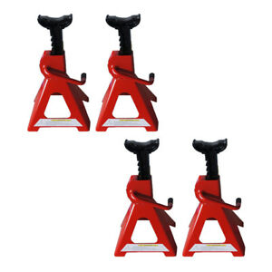 Set Of 2 Adjustable A Pair Of 2 Ton Jack Stands Lift Jack Portable Tools Red