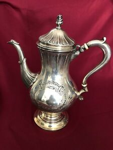 Antique Sterling Silver George Ii Period Teapot Hand Chased1214 Grams No Monogra