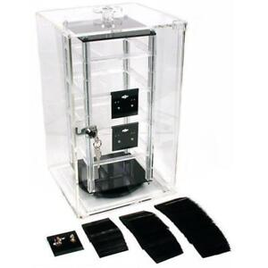 Revolving Rotating Jewelry Display Case 8 5 With 100 2 Black Earring Cards