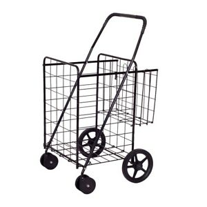 Shopping Cart Jumbo Basket For Grocery Laundry Travel With Swivel Wheels Black