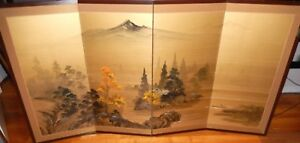 Large Japanese Mountain Landscape Original Watercolor Four Panel Screen