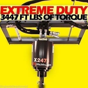 Skid Steer Auger 3000psi Extreme Duty Gear Drive Mcmillen X2475 W 30 tree Bit