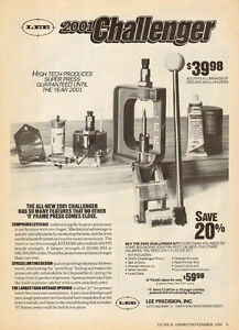 1984 print AD LEE 2001 Challenger O Frame Press ammo firearms reloaders 070415