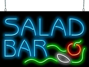 Salad Bar Neon Sign Jantec 2 Sizes Restaurant Free Shipping Real Neon
