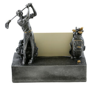 Golfer With Golf Clubs Metal Business Card Holder