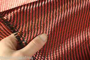 Carbon Fiber Kevlar Fabric Cloth Red Black 5 5oz 1 Yard Made With Kevlar