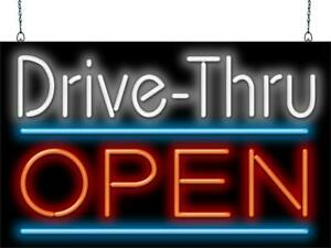 Drive thru Open Neon Sign Jantec 2 Sizes Fast Food Cafe Diner