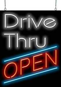 Drive thru Open Neon Sign Jantec 2 Sizes Fast Food Cafe Deli