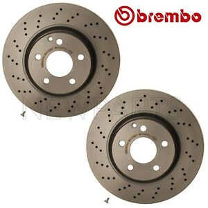 Pair Set Of 2 Front 330mm Vent Drill Disc Brake Rotors Brembo For Mb C215 W220