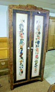 Vintage 2 Door Wardrobe Cabinet Cupboard Antiqued Painted Scene Glass Knobs