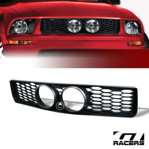 For 05 09 Ford Mustang Gt Blk Honeycomb Mesh Hood Bumper Grille Fog Lights Hole