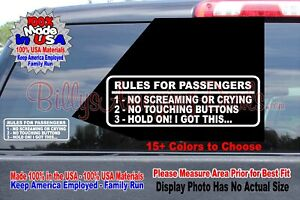 Rules For Passengers Vinyl Decal Car Sticker Funny Jdm Stance Wrx Euro Mud Truck
