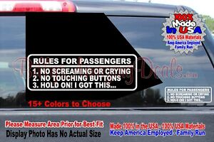 Rules For Passengers Vinyl Decal Car Sticker Funny Stance Jdm Wrx Euro Mud Truck