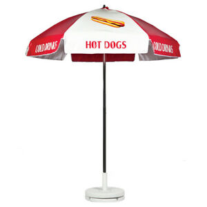 Hot Dog Vendor Cart Concession Umbrella Red White With Tilt