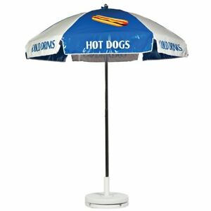 Hot Dog Vendor Cart Concession Umbrella Blue White