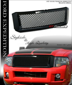 For 2007 2014 Ford Expedition Glossy Blk Mesh Front Hood Bumper Grill Grille Abs
